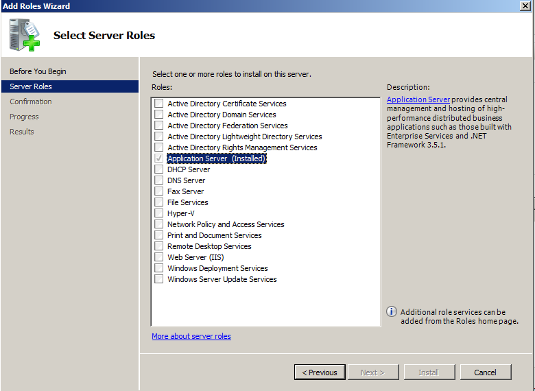 Add Application Server Role