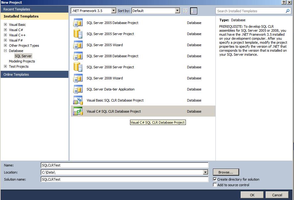Visual Studio 2010 - New SQL CLR Project